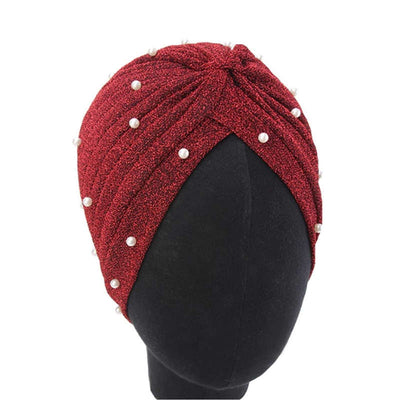 Lynn Pearl Ruffle Turban Women fashion Shiny Mesh Headwrap headwear Fancy Luxury Muslim hat Headwear Turbante Hijab Hair Accessories Wine red