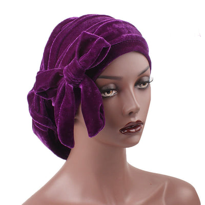 Madison_Ruffle_hat_Turban_Bandanna_Cancer hat_Chemo hat_Beanie hat_Purple