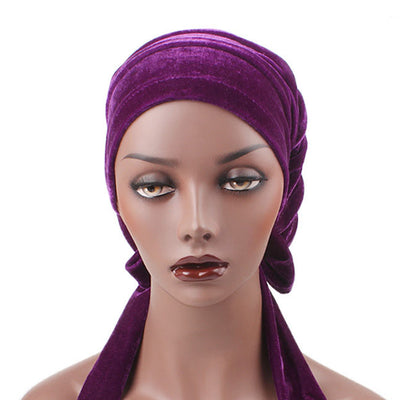 Madison_Ruffle_hat_Turban_Bandanna_Cancer hat_Chemo hat_Beanie hat_Purple-4