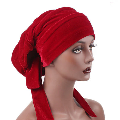 Madison_Ruffle_hat_Turban_Bandanna_Cancer hat_Chemo hat_Beanie hat_Red