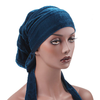 Madison_Ruffle_Bandanna_Turban_Bandanna_Cancer hat_Chemo hat_Beanie hat_Teal