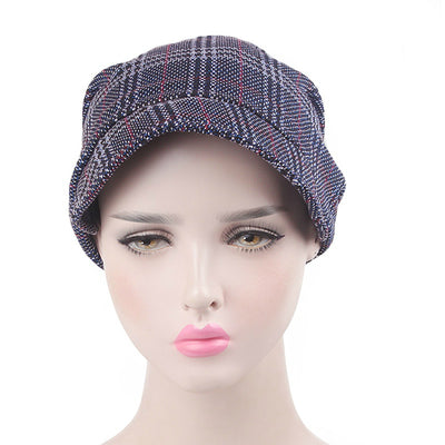 Martha Checkered Beanie Hat Beret Hats Baggy Cap With Visor for Women Casual Head covering Headcovers Cancer Chemo Blue-2