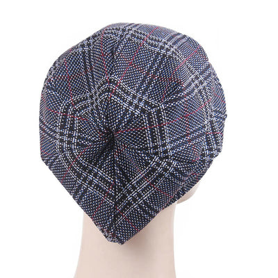 Martha Checkered Beanie Hat Beret Hats Baggy Cap With Visor for Women Casual Head covering Headcovers Cancer Chemo Blue-3