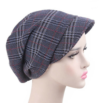 Martha Checkered Beanie Hat Beret Hats Baggy Cap With Visor for Women Casual Head covering Headcovers Cancer Chemo Blue