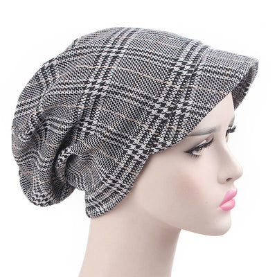 Martha Checkered Beanie Hat Beret Hats Baggy Cap With Visor for Women Casual Head covering Headcovers Cancer Chemo Gray