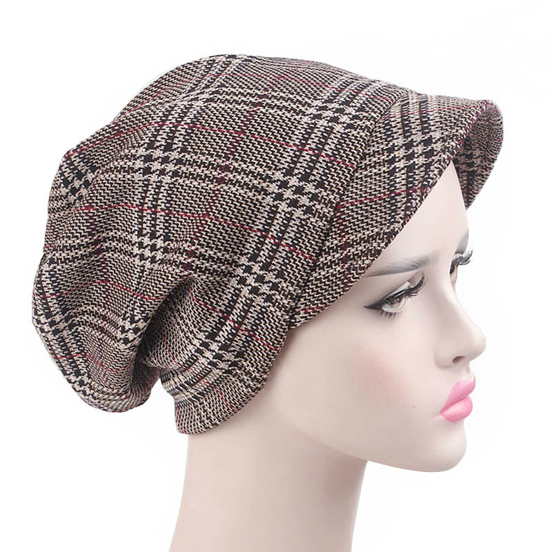 Martha Checkered Beanie Hat Beret Hats Baggy Cap With Visor for Women Casual Head covering Headcovers Cancer Chemo Khaki