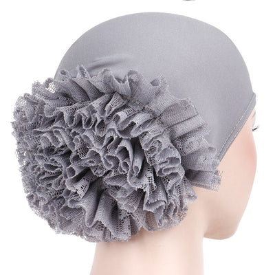 May Elastic Turban_Flower_Basic_Cap_Chemo_Striped_Head covering_Modest_Headcovers_Gray