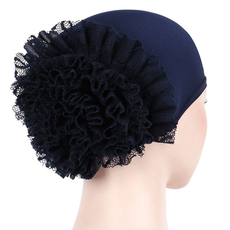 1db186eb686 May Elastic Turban Flower Basic Cap Chemo Striped Head  covering Modest Headcovers Navy