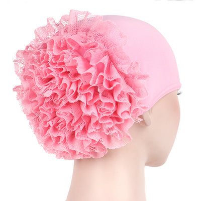 May Elastic Turban_Flower_Basic_Cap_Chemo_Striped_Head covering_Modest_Headcovers_Pink