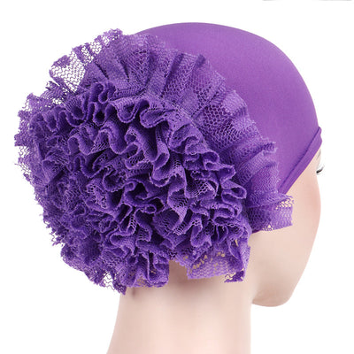 May Elastic Turban_Flower_Basic_Cap_Chemo_Striped_Head covering_Modest_Headcovers_Purple