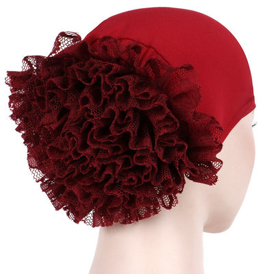 May Elastic Turban_Flower_Basic_Cap_Chemo_Striped_Head covering_Modest_Headcovers_Red