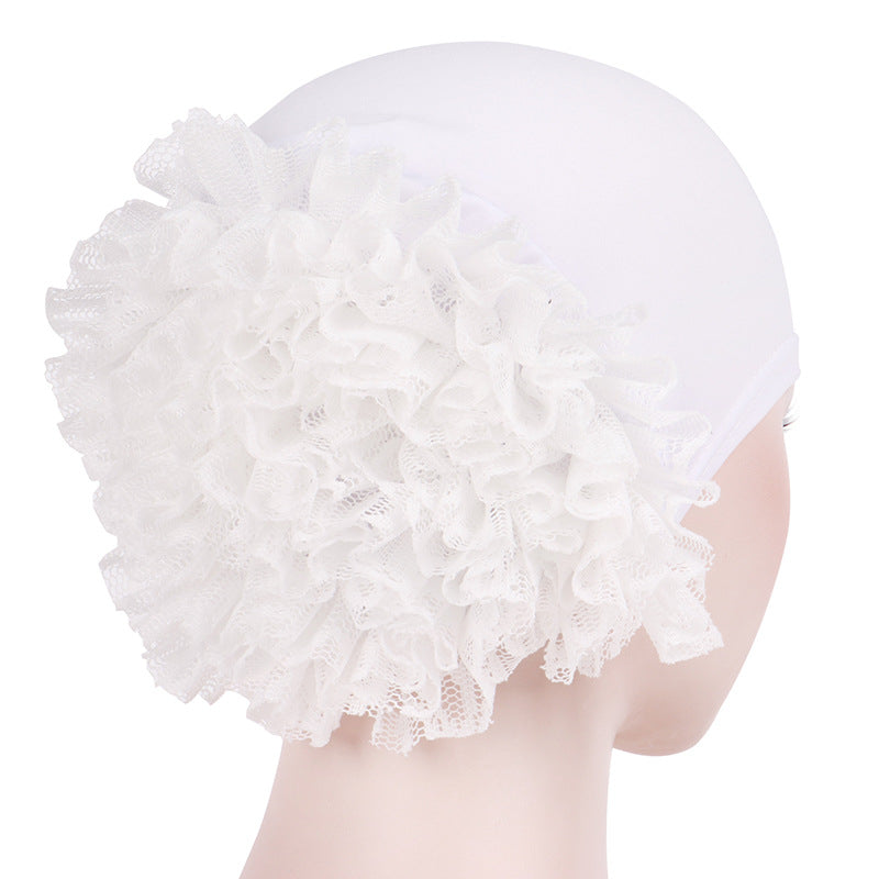 1d64aa9ba20 May Elastic Turban Flower Basic Cap Chemo Striped Head  covering Modest Headcovers White