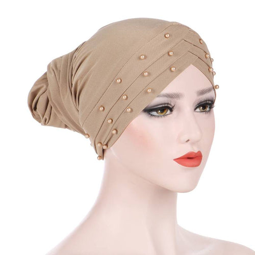 Meggy Beaded Headscarf Headwrap For Work Basic Hijab For Muslim Woman Shop Online Turbans  Headscars For Cancer Patients Free Shipping Jewish Headcovering- Beige