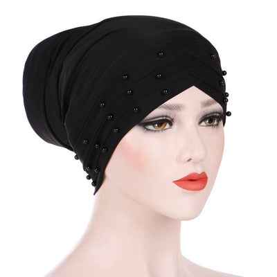 Meggy Beaded Headscarf Headwrap For Work Basic Hijab For Muslim Woman Shop Online Turbans  Headscars For Cancer Patients Free Shipping Jewish Headcovering- Black