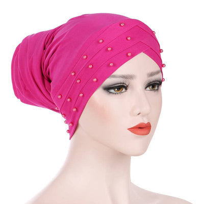 Meggy Beaded Headscarf Headwrap For Work Basic Hijab For Muslim Woman Shop Online Turbans  Headscars For Cancer Patients Free Shipping Jewish Headcovering- Fuchsia