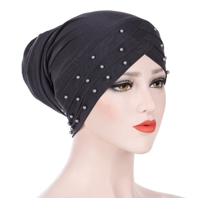 Meggy Beaded Headscarf Headwrap For Work Basic Hijab For Muslim Woman Shop Online Turbans  Headscars For Cancer Patients Free Shipping Jewish Headcovering- Gray