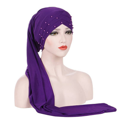 Meggy Beaded Headscarf Headwrap For Work Basic Hijab For Muslim Woman Shop Online Turbans  Headscars For Cancer Patients Free Shipping Jewish Headcovering- Purple 3