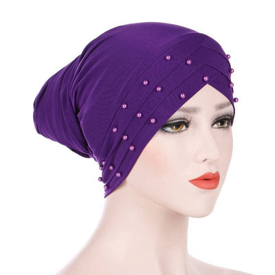 Meggy Beaded Headscarf Headwrap For Work Basic Hijab For Muslim Woman Shop Online Turbans  Headscars For Cancer Patients Free Shipping Jewish Headcovering- Purple