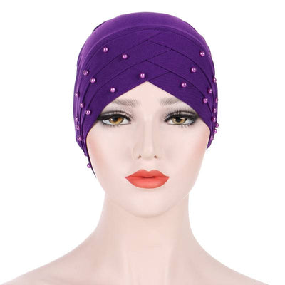 Meggy Beaded Headscarf Headwrap For Work Basic Hijab For Muslim Woman Shop Online Turbans  Headscars For Cancer Patients Free Shipping Jewish Headcovering- Purple 4