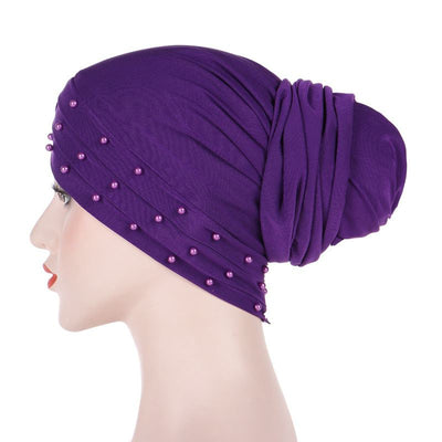 Meggy Beaded Headscarf Headwrap For Work Basic Hijab For Muslim Woman Shop Online Turbans  Headscars For Cancer Patients Free Shipping Jewish Headcovering- Purple 2