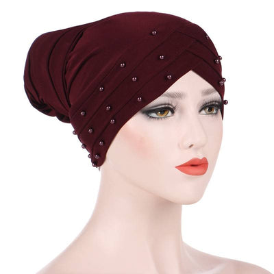 Meggy Beaded Headscarf Headwrap For Work Basic Hijab For Muslim Woman Shop Online Turbans  Headscars For Cancer Patients Free Shipping Jewish Headcovering- Wine