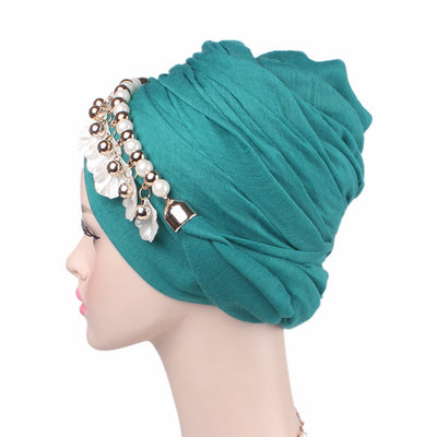 Misha Pearl Shell Cotton Head Wrap_Headscarf_Head wear_Head covering_Headscarves_Head wraps_Green
