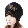 Nor Knitted Jewelry Turban Ladies Winter Hat, Soft Beanie, Warm Headwrap, Women headwear  Black