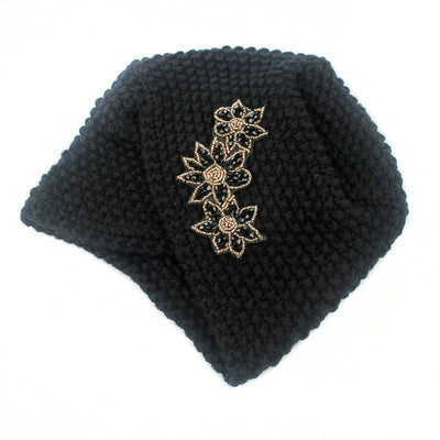 Nor Knitted Jewelry Turban Ladies Winter Hat, Soft Beanie, Warm Headwrap, Women headwear  Black-4