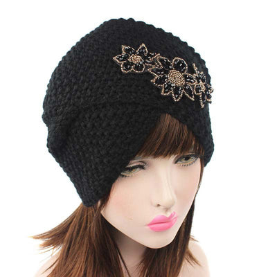 Nor Knitted Jewelry Turban Ladies Winter Hat, Soft Beanie, Warm Headwrap, Women headwear  Black-3