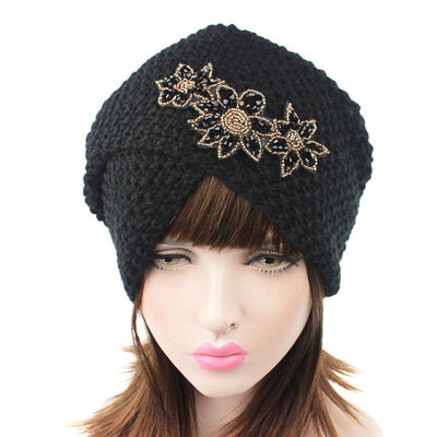 Nor Knitted Jewelry Turban Ladies Winter Hat, Soft Beanie, Warm Headwrap, Women headwear  Black-2