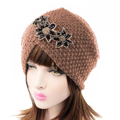 Nor Knitted Jewelry Turban Ladies Winter Hat, Soft Beanie, Warm Headwrap, Women headwear  Brown