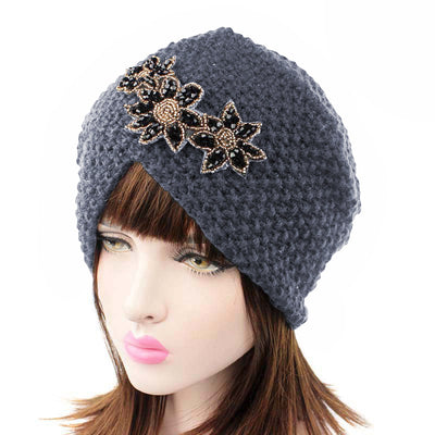 Nor Knitted Jewelry Turban Ladies Winter Hat, Soft Beanie, Warm Headwrap, Women headwear  Gray