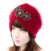 Nor Knitted Jewelry Turban Ladies Winter Hat, Soft Beanie, Warm Headwrap, Women headwear  Red