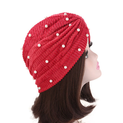 Patrice Pearl Turban_Cap_Chemo_Beanie_Turbans_Head covering_Modest_Elegant_Red-3