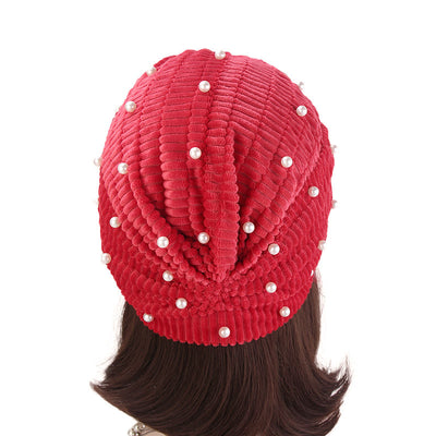 Patrice Pearl Turban_Cap_Chemo_Beanie_Turbans_Head covering_Modest_Elegant_Red-4