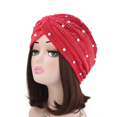 Patrice Pearl Turban_Cap_Chemo_Beanie_Turbans_Head covering_Modest_Elegant_Red-5