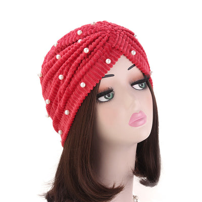 Patrice Pearl Turban_Cap_Chemo_Beanie_Turbans_Head covering_Modest_Elegant_Red-2