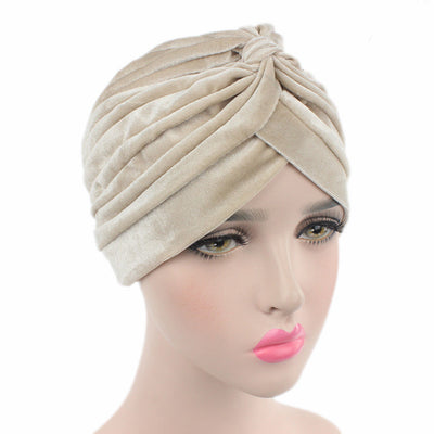 Peyton Soft Velvet Turban_Head covering_Head wrap_Basic_Chemo_Hat_Cancer_Headcovers_Beige