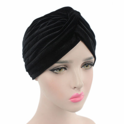 Peyton Soft Velvet Turban_Head covering_Head wrap_Basic_Chemo_Hat_Cancer_Headcovers_Black