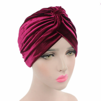 Peyton Soft Velvet Turban_Head covering_Head wrap_Basic_Chemo_Hat_Cancer_Headcovers_Burgundy