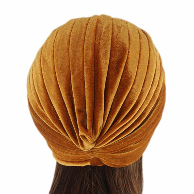 Peyton Soft Velvet Turban_Head covering_Head wrap_Basic_Chemo_Hat_Cancer_Headcovers_Gold-3