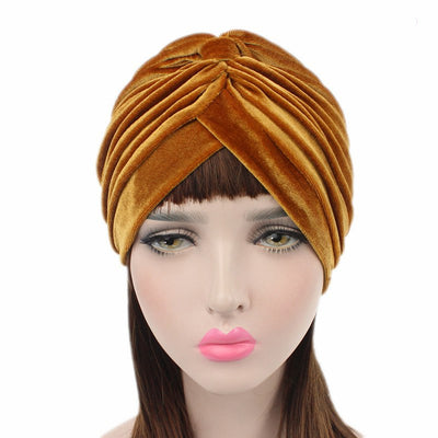 Peyton Soft Velvet Turban_Head covering_Head wrap_Basic_Chemo_Hat_Cancer_Headcovers_Gold-4