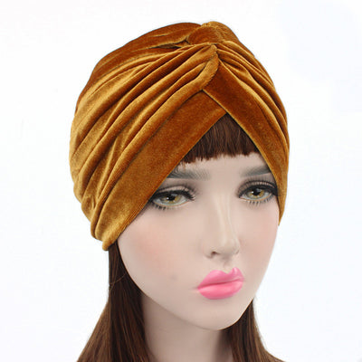 Peyton Soft Velvet Turban_Head covering_Head wrap_Basic_Chemo_Hat_Cancer_Headcovers_Gold-2