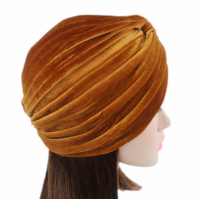 Peyton Soft Velvet Turban_Head covering_Head wrap_Basic_Chemo_Hat_Cancer_Headcovers_Gold-5