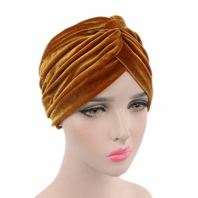 Peyton Soft Velvet Turban_Head covering_Head wrap_Basic_Chemo_Hat_Cancer_Headcovers_Gold