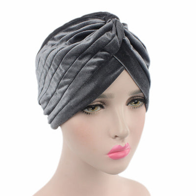 Peyton Soft Velvet Turban_Head covering_Head wrap_Basic_Chemo_Hat_Cancer_Headcovers_Gray