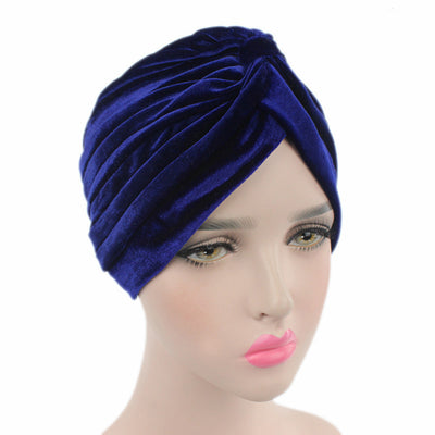 Peyton Soft Velvet Turban_Head covering_Head wrap_Basic_Chemo_Hat_Cancer_Headcovers_Navy