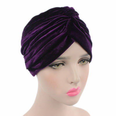 Peyton Soft Velvet Turban_Head covering_Head wrap_Basic_Chemo_Hat_Cancer_Headcovers_Purple