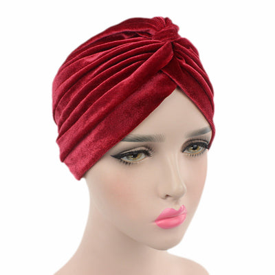 Peyton Soft Velvet Turban_Head covering_Head wrap_Basic_Chemo_Hat_Cancer_Headcovers_Red