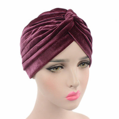 Peyton Soft Velvet Turban_Head covering_Head wrap_Basic_Chemo_Hat_Cancer_Headcovers_Rose